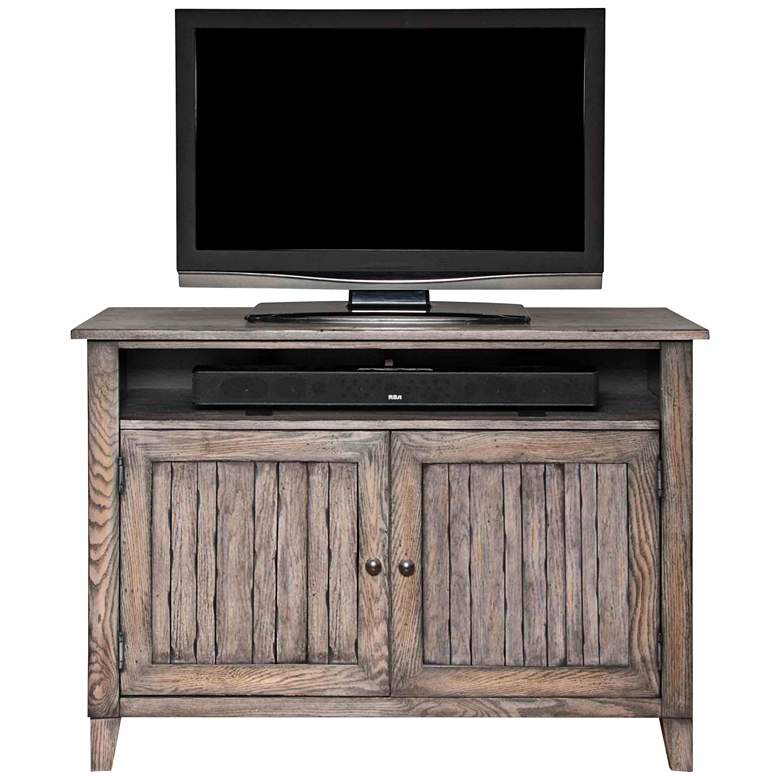 """Harmon 46"""" Wide Weathered Wood 2-Door Farmhouse TV Stand"""