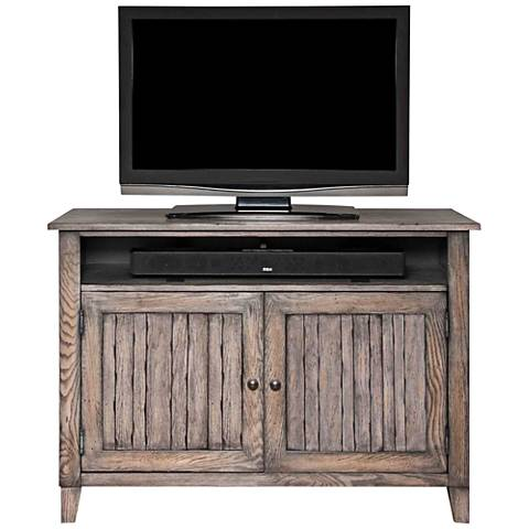Harmon Weathered Greige Wood 2-Door TV Stand