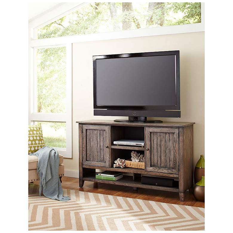 """Harmon 60"""" Wide Weathered Gray 2-Door Farmhouse TV Stand"""