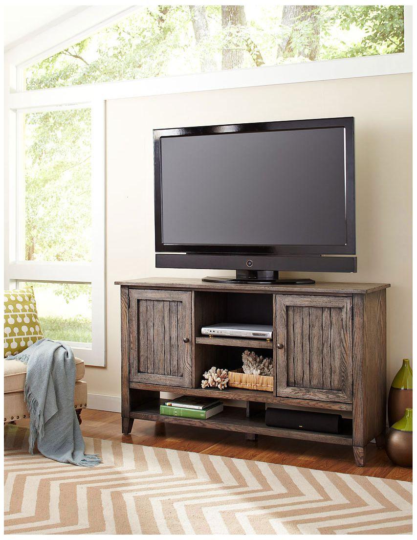 Harmon Weathered Greige Wood 2 Door Deluxe TV Stand