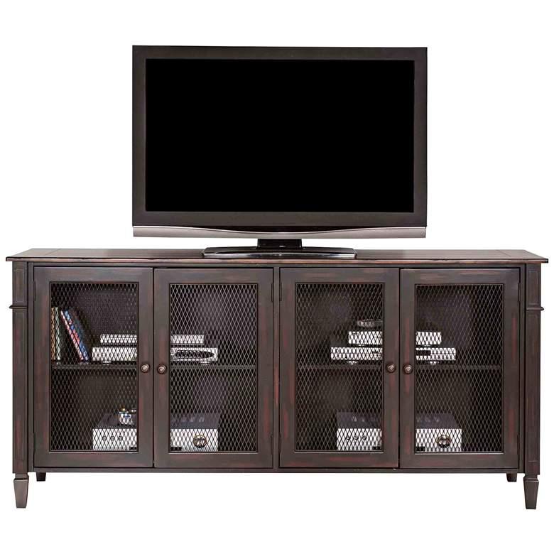 "Navarro 72"" Wide Two-Toned Aged Clove 4-Door Wood TV Stand"