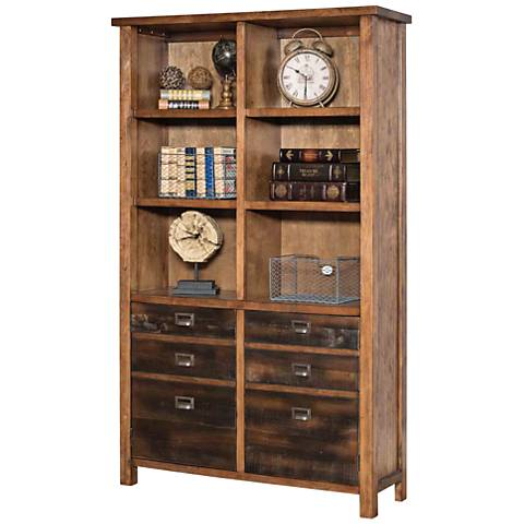 Heritage Hickory 6-Shelf Wood Bookcase