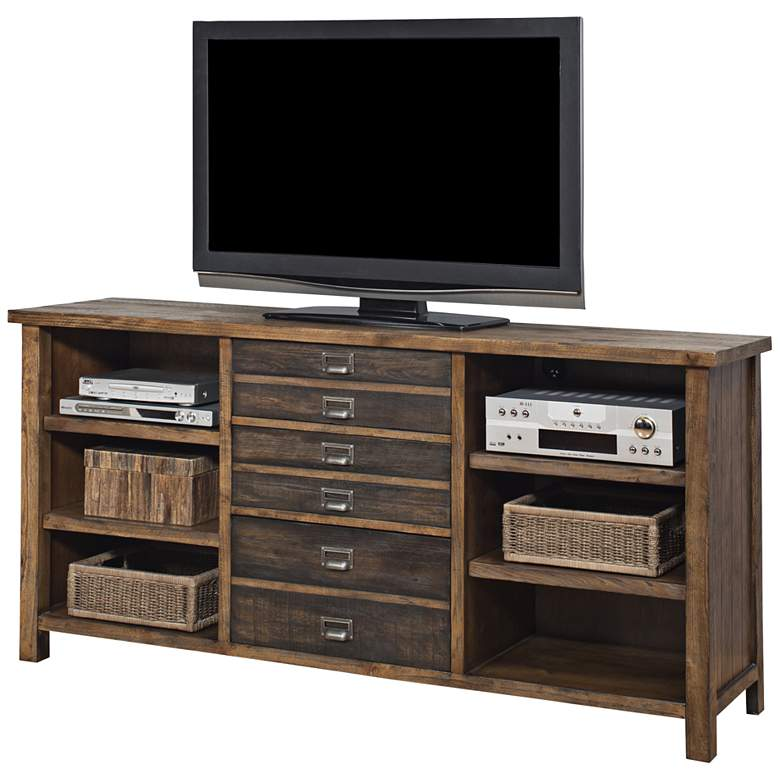 """Heritage 70"""" Wide 3-Drawer Hickory Wood Credenza"""