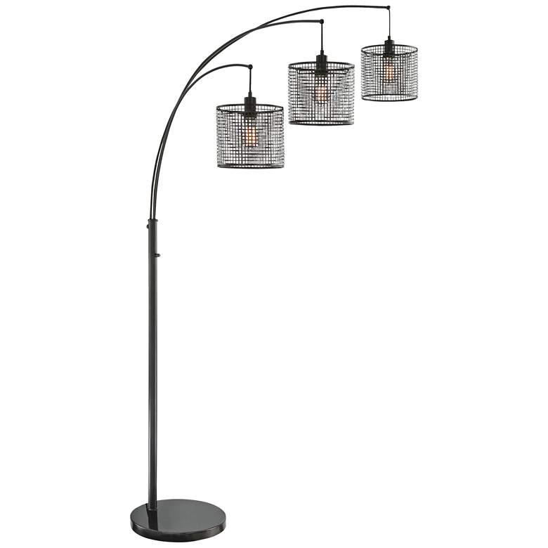 Lite Source Hamilton Black Metal Grid 3-Light Arc Floor Lamp
