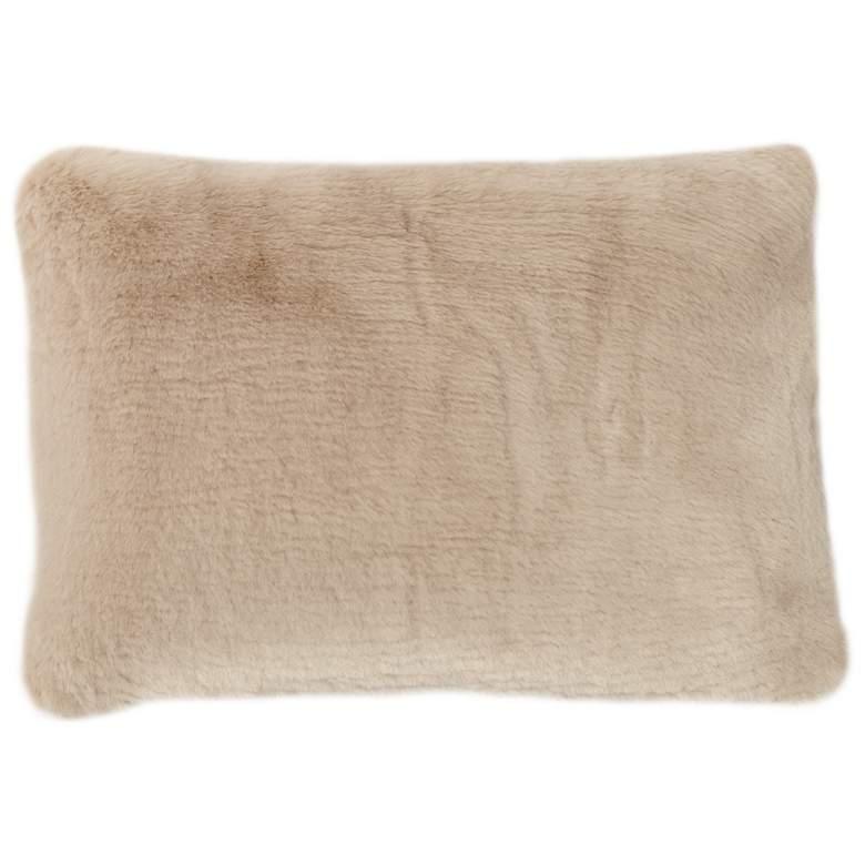 """Sand Sable 20"""" x 14"""" Faux Fur Lumbar Pillow"""