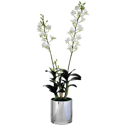 "White Dendrobium Orchid 30"" High Faux Plant in Glass Vase"