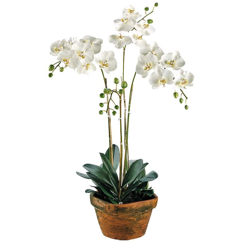 """Phalaenopsis Orchid 36"""" High Faux Plant in Terra Cotta Pot"""