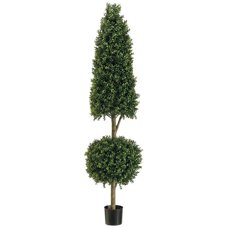 "Cone and Ball Boxwood Topiary 72""H Faux Plant"