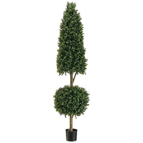 """Cone and Ball Boxwood Topiary 72""""H Faux Plant in Plastic Pot"""