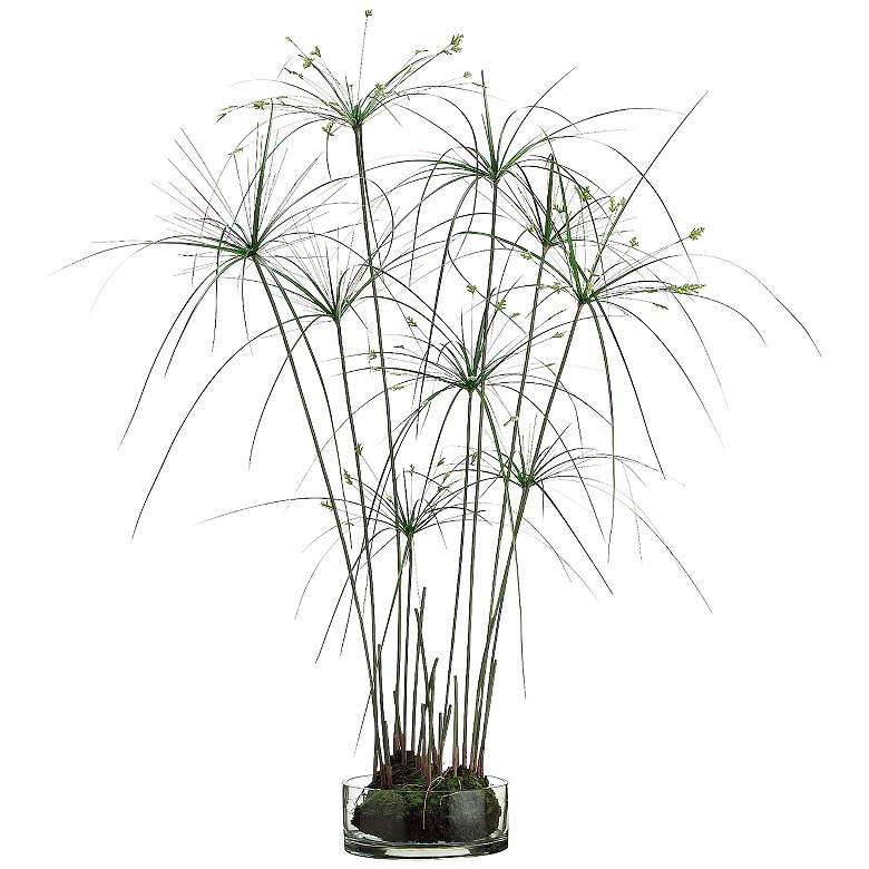 """Green Papyrus Grass 38"""" High Faux Plant in Glass Vase"""