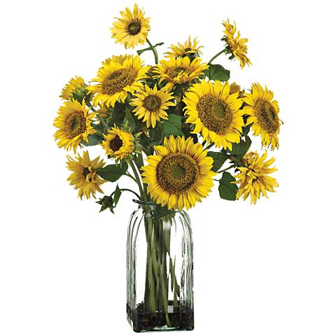 "Yellow Sunflower 30"" High Faux Flowers in Glass Vase"
