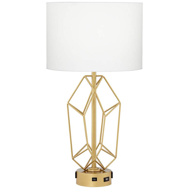 21M17 - Gold Metal Table Lamp w/ USB Port and 2-Outlets