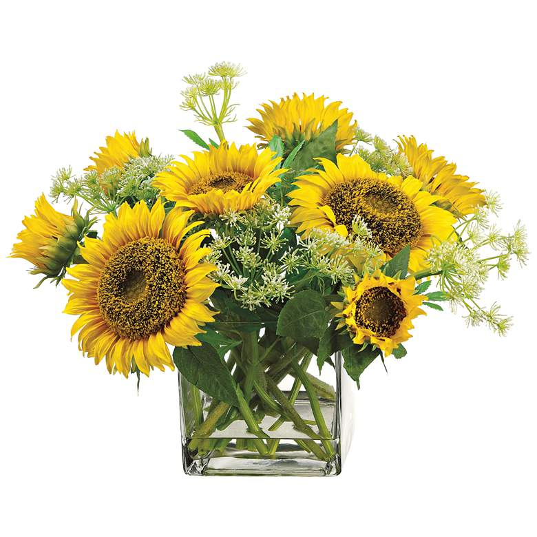 """Sunflower and Queen Anne's Lace 18""""H Faux Flowers in Vase"""