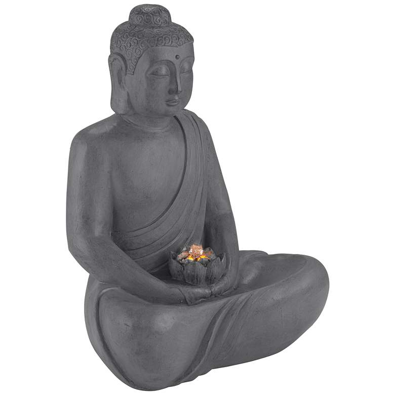 "Buddha 25"" High Gray Stone Indoor/Outdoor LED Fountain"
