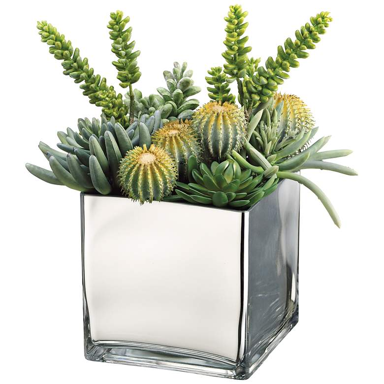 "Barrel Cactus, Monkey Tail, Aeonium 15""H Faux Plant"