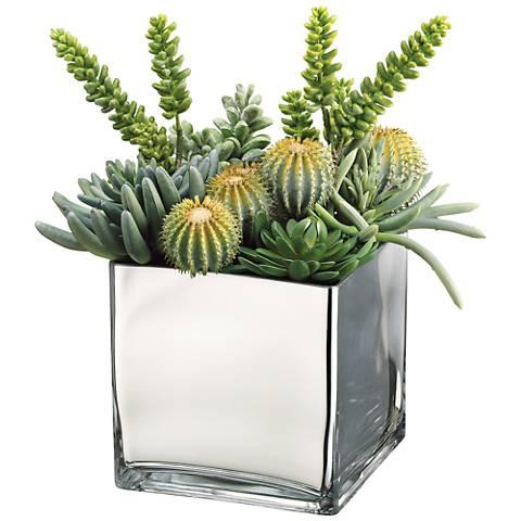"Barrel Cactus, Monkey Tail, Aeonium 15""H Faux Plant in Vase"