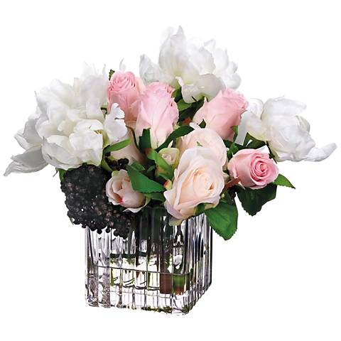 """Peony, Rose and Sedum 11"""" Wide Faux Flowers in Glass Vase"""