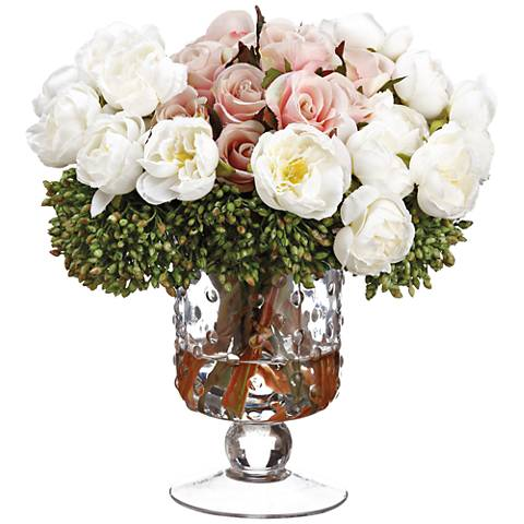"""Ranunculus, Rose and Berry 9""""H Faux Flowers in Glass Vase"""