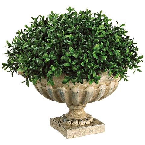 """Green Boxwood Dome 14"""" Wide Faux Plant in Urn"""