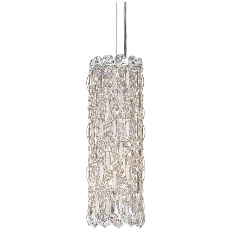 """Schonbek Sarella 5"""" Wide Silver and Crystal Column Pendant"""