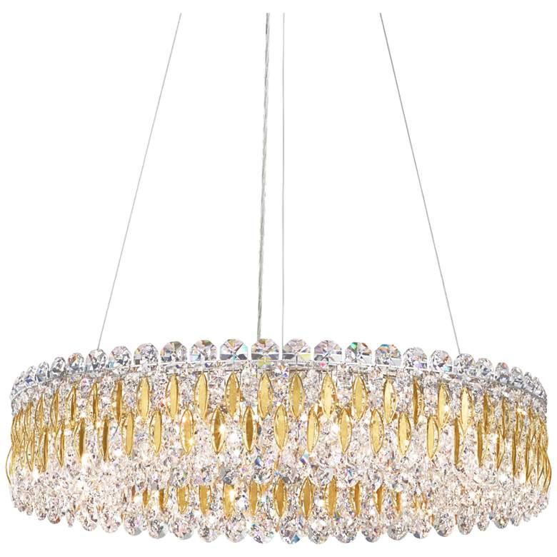 "Schonbek Sarella 24"" Wide Heirloom Gold and Crystal Pendant"