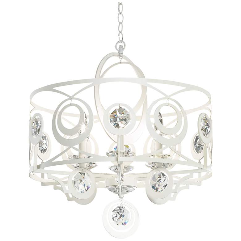 "Schonbek Gwynn 24"" Wide White and Crystal 6-Light"
