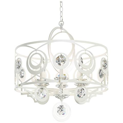 "Schonbek Gwynn 24"" Wide White and Crystal 6-Light Chandelier"