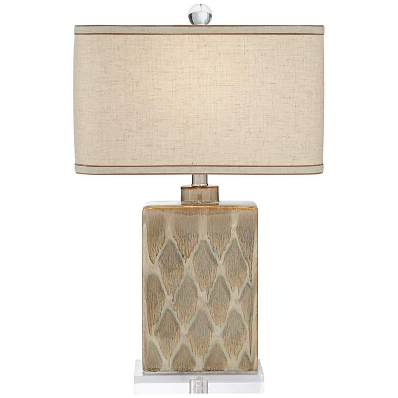 Possini Euro Coburg Diamond Pattern Ceramic Table Lamp