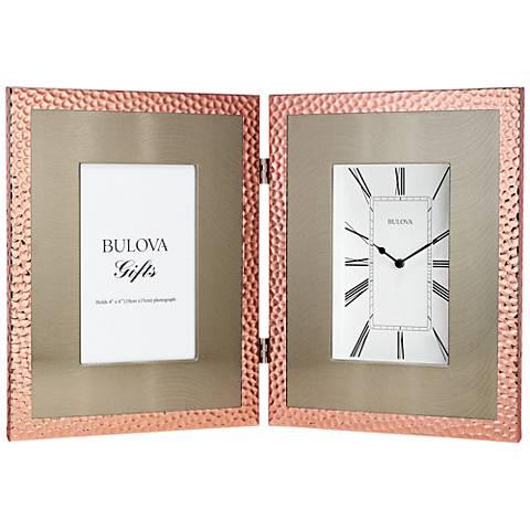 """Bulova Pebblestone Copper 15 1/4""""W Clock with Picture Frame"""