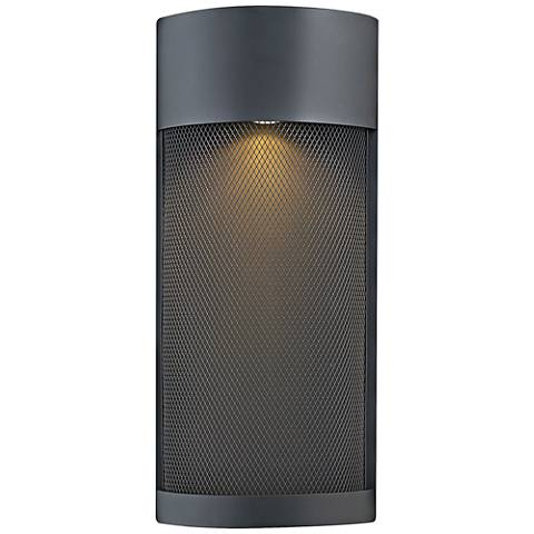 "Hinkley Aria 18""H Black and Steel Mesh Outdoor Wall Light"