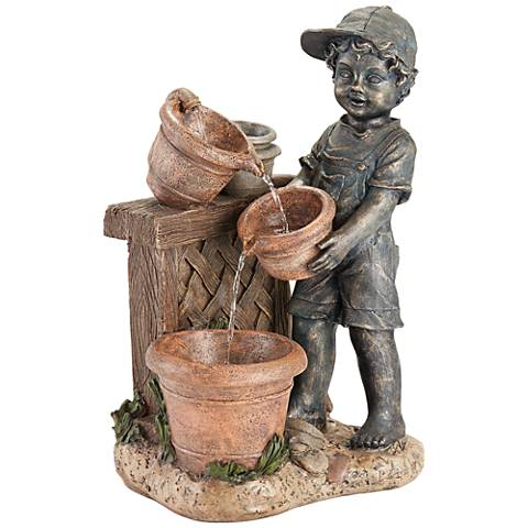 "Boy with Garden Pots 24"" High Stone Outdoor Fountain"