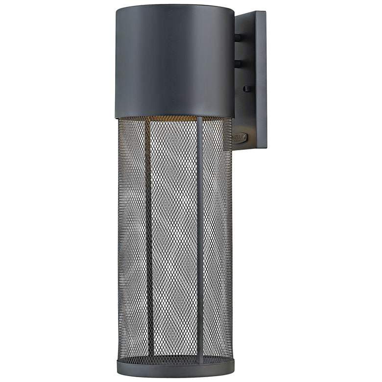 """Aria 21 3/4""""H Black and Steel Mesh LED Outdoor Wall Light"""