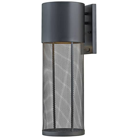 "Aria 21 3/4""H Black and Steel Mesh LED Outdoor Wall Light"