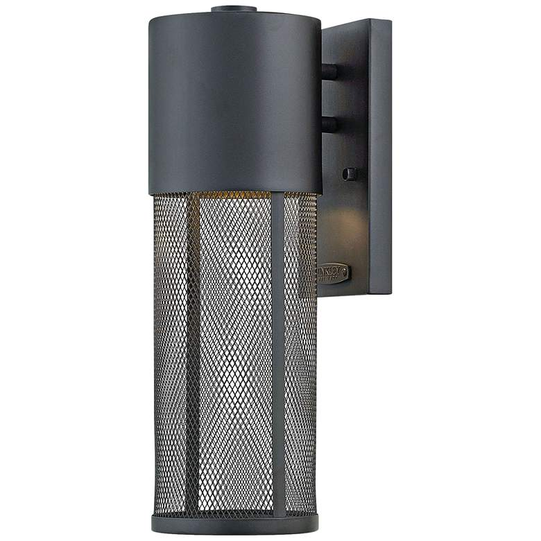 "Aria 15 1/2""H Black and Steel Mesh LED Outdoor Wall Light"