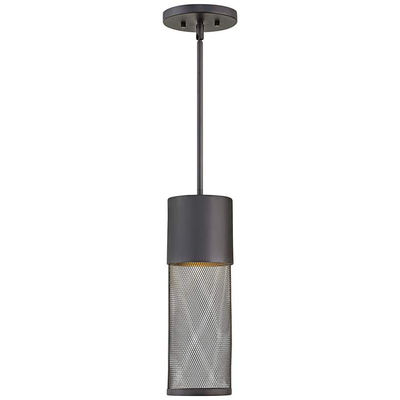"Aria 19 1/4""H Black and Steel Mesh LED Outdoor Hanging Light"
