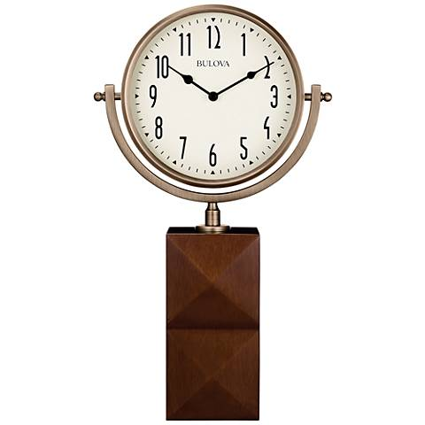 "Bulova Park Avenue Bronze and Brown 17 1/4"" High Table Clock"