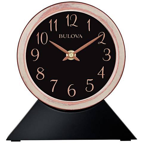 "Bulova Port Jeff Copper and Ebony 7 1/4""H Metal Table Clock"