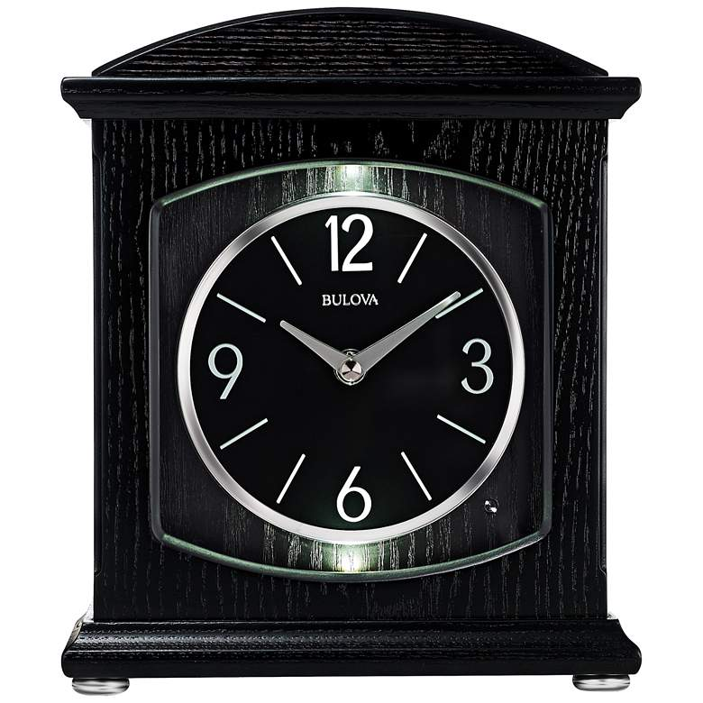 "Bulova Glendale Ebony Wood 9 3/4"" High Table Clock"