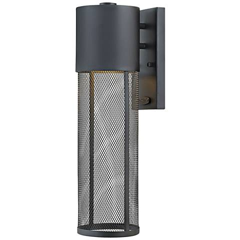 "Aria 18 1/2""H Black and Steel Mesh LED Outdoor Wall Light"