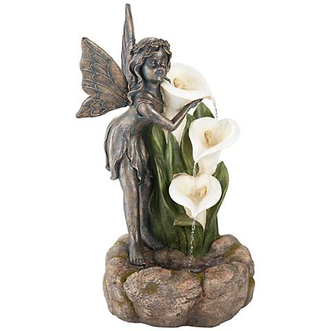 """Garden Fairy with Lily Flowers 26""""H Indoor/Outdoor Fountain"""
