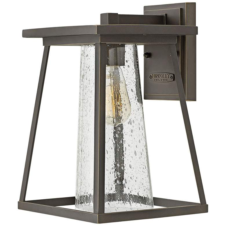 "Burke 14"" High Bronze and Clear Glass Outdoor Wall Light"
