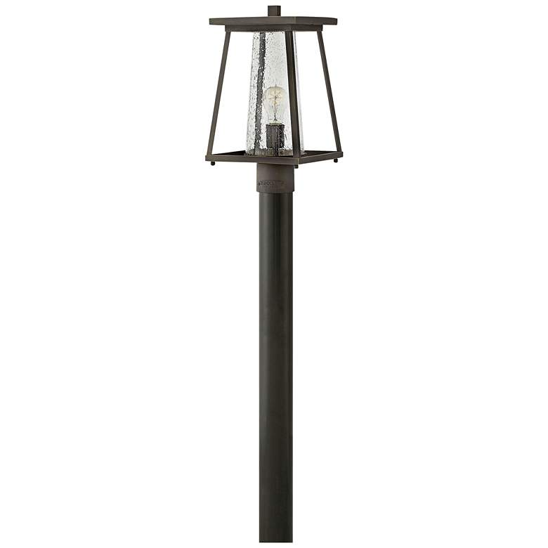 "Burke 16""H Rubbed Bronze and Clear Glass Outdoor Post Light"
