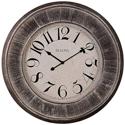 "Bulova Restoration Gray Wood 23 1/2"" Round Wall Clock"
