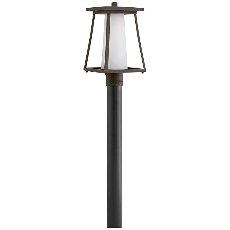 """Burke 16""""H Rubbed Bronze and Opal Glass Outdoor Post Light"""