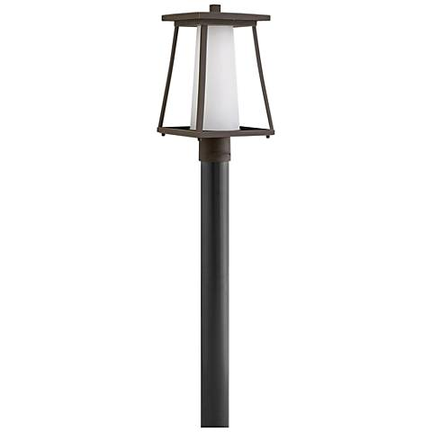 "Burke 16""H Rubbed Bronze and Opal Glass Outdoor Post Light"
