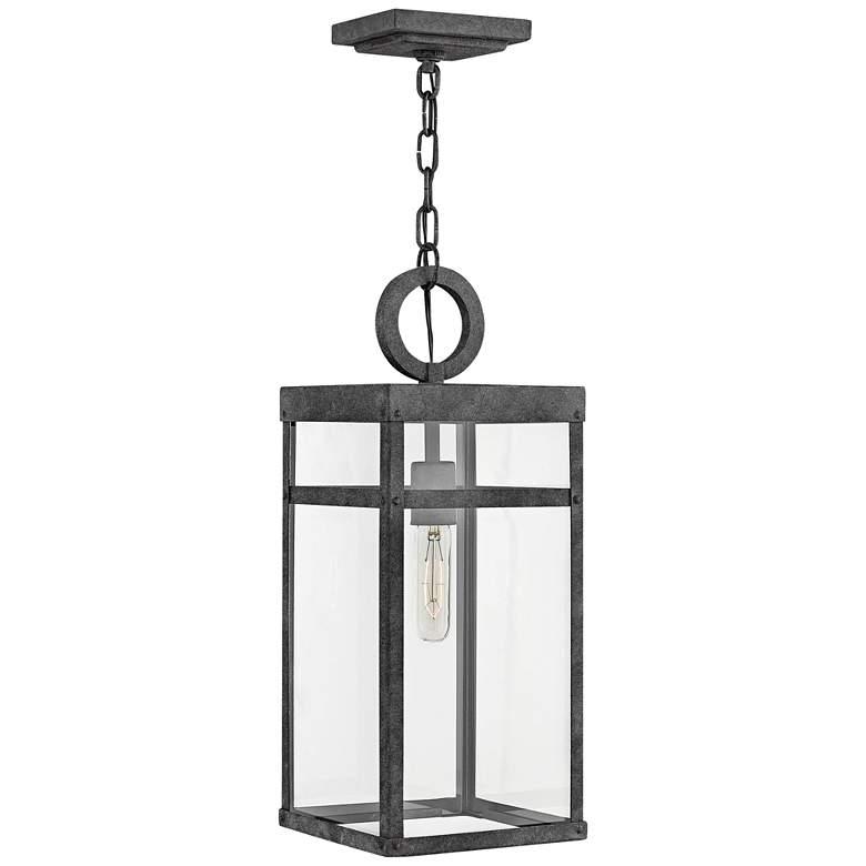 "Hinkley Porter 19"" High Aged Zinc Outdoor Hanging Light"
