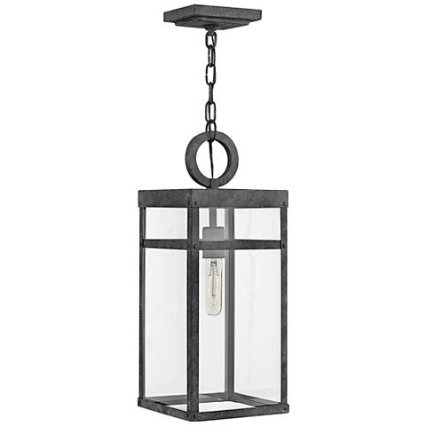 "Hinkley Porter 19"" High Aged Zinc Outdoor Hanging Light"