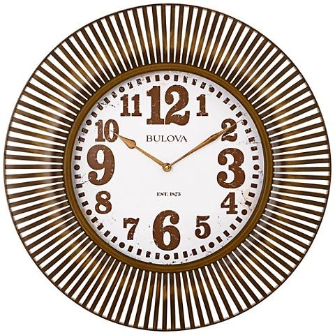 "Bulova Sunburst Gold Metal 28 3/4"" Round Wall Clock"