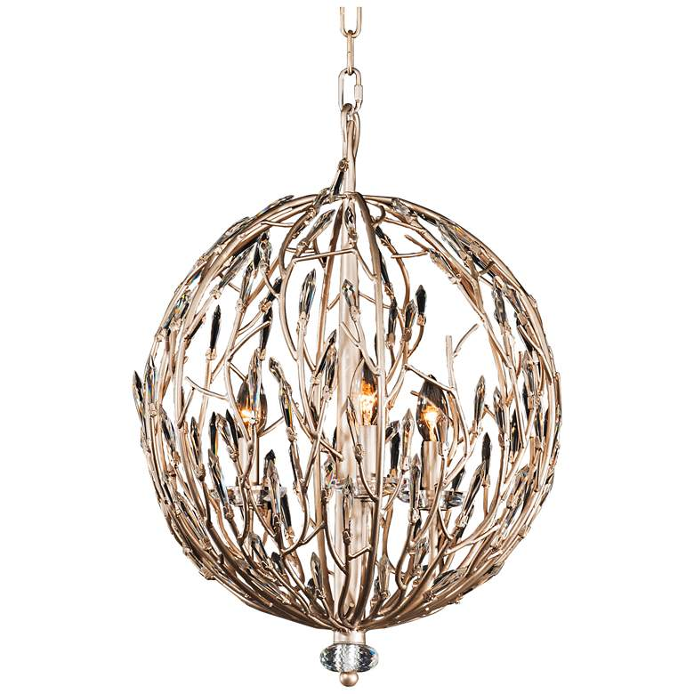 "Varaluz Bask 18"" Wide Gold Dust and Crystal 3-Light Pendant"