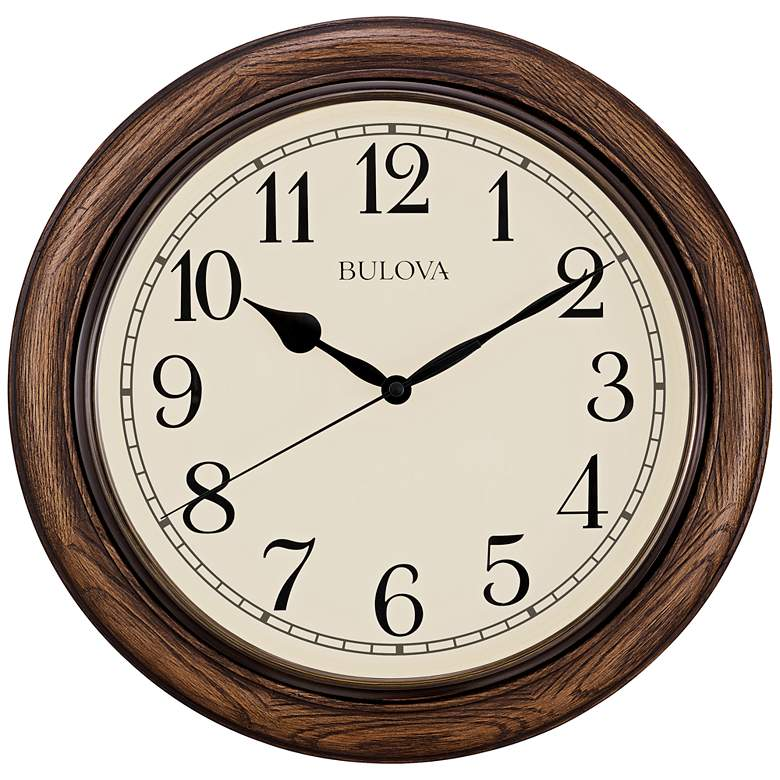 "Bulova Oakbrook Dark Oak Wood 16"" Round Wall"